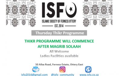 ISFO Thikr Programme